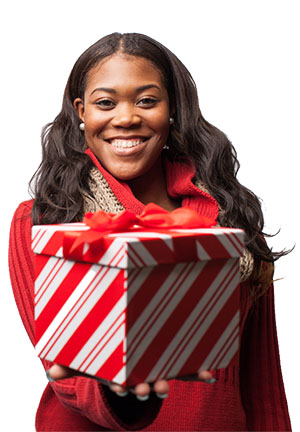 Woman giving a Christmas present